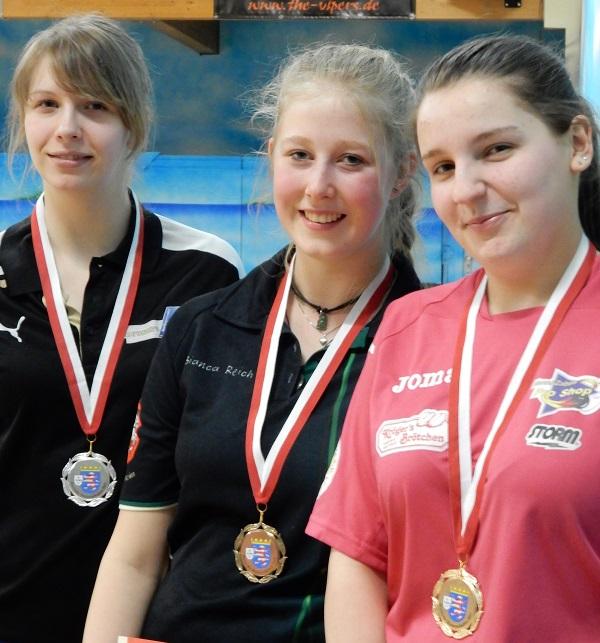 TOP 3 der HM Jugend A (von vorne nach hinten): Gina Merkel, Bianca Reich, Lea Degenhard